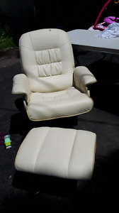 Real leather reclining chair and ottoman