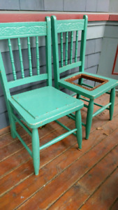 Two antique chairs for children.