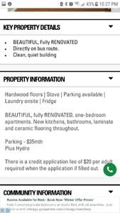No emails or text please 1 bedroom apartment in lowrise building
