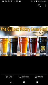 2 reg admission tickets to Sussex Rotary Beer Festival