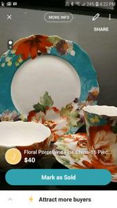 Floral Porcelaine Fine China-16 Pieces