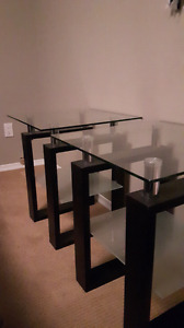 Two Glass and Wood side Tables