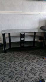 Black Glass and Black Legs TV Stand