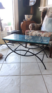 Indoor/ outdoor glass wrought iron tables
