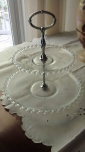 Vintage two-tiered Candlewick glass cake plate