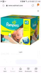 Unopened Box - Pampers Swaddlers - Size 1 - 216 Count