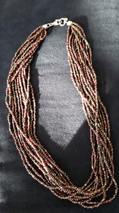 Silpada Multi Strand Sterling Silver and Brown Bead Necklace