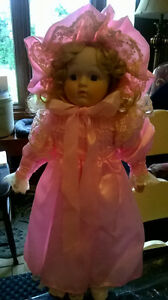 Beautiful 15 Inch Porcelain Doll in Pink Dress
