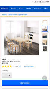 Dining table and chairs for 4 people