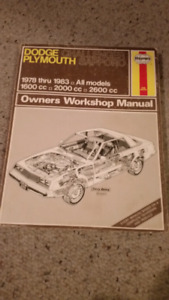 Haynes manual Dodge Challenger Plymouth Sapporo
