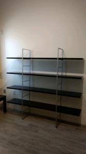 Black and metal shelves