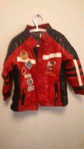 Lightning Mc Queen leather fall jacket size 3T