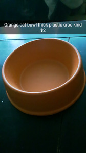 Orange crock pet bowl cats or small dogs