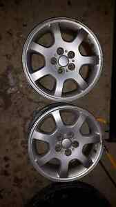 2 Aluminum rims 15 inch 5x 100mm bolt pattern