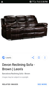 leather reclining love seat and sofa