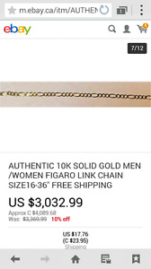 AUTHENTIC 10K SOLID GOLD MEN /WOMEN FIGARO LINK CHAIN