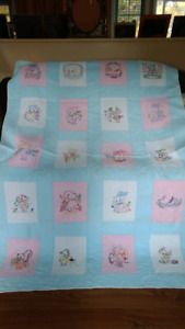 Homemade baby quilt up