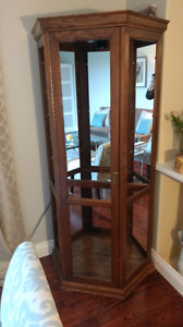 Solid wood and mirrored back curio