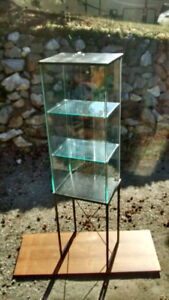 Tall elegant Glass Curio Case- Clean lines on metal base