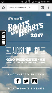 Boots and Hearts tickets and RV camping