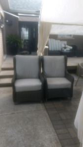 Outdoor arm chairs and lawn chair