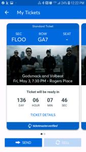 Godsmack and Volbeat Floor tickets