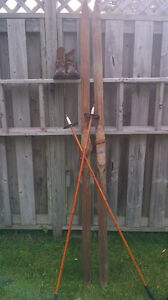 Vintage wooden x country skis, boots and poles