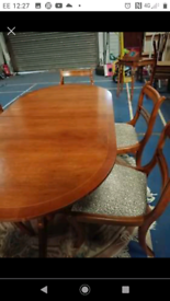Yew table and 6 chairs
