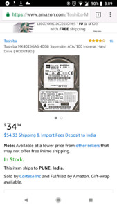Toshiba MK4025GAS 40GB Superslim ATA/100 Internal Hard Drive