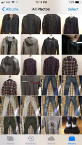 Clothes for men and shoes.