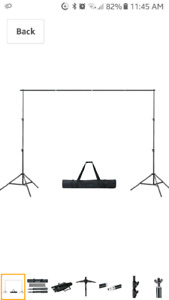 Photography backdrop stand with 2 backdrops  and props