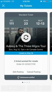 Row 23/28 Sec 111 seat 11-14 Drake & Migos @ACC 8/12