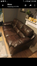 Brown leather Sofa 3 piece set