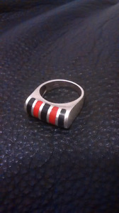 Large size 9 sterling silver black and red ring