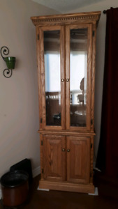 OAK CURIO DISPLAY CABINET