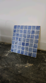 14 Boxes of Ceramic Wall Tiles - Square Mosaic Style - Blue NEW