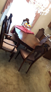 Antique Wooden Dining Room with 6 Chairs & Antique Curio Cabinet