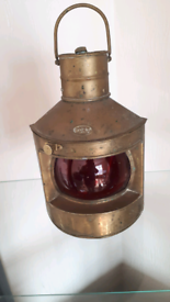 Vintage light weight nautical style brass oil lamp.