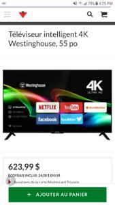 Television 55pouce 4k smart tv