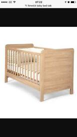 Fenwick Baby Cot Bed , Solid OAK Wood