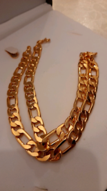 22k Gold plated Heavy Men 24cm each side size chain 48cm full length