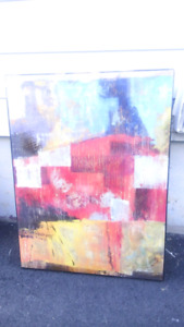REDUCED $ 50.00 Large abstract painting mounted on wood board.