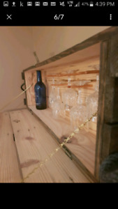 SOLID WOOD ANTIQUE - WINE CABINET / WALL CABINET