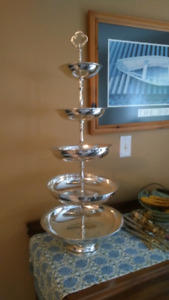 Silverplate 5 tier donut or cupcake tower or pedestal