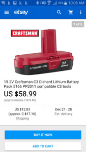 2 New Craftsman 19.2 lithium ion battery and charger