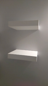 2 white ikea lack shelves