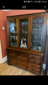 Free delivery in Croydon solid wood display cabinet with lights