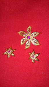 Vintage Brooche with Matching Clip Earrings