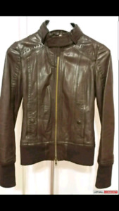 Aritzia brown Mackage Ellie leather jacket size small