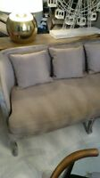 Linen down filled restoration hardware sofa, chairs, art